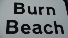 Burn beach sign